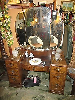Burr walnut twin pedestal / triple mirror dressing table c.1938