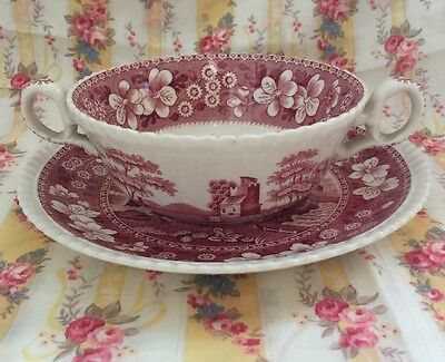 Vintage Spode Pink Tower Lot Of 3 Soup Bowls And Matching Saucers