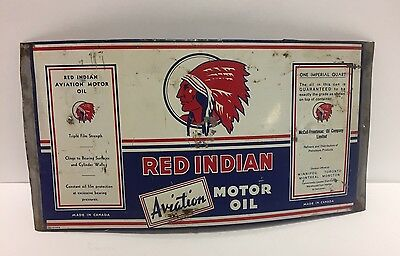 Red Indian Aviation Motor Oil Flattened Tin ca: 1930's