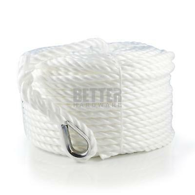 NEW Silver Anchor Boat Rope 8mm x 50M Stainless Steel Thimble Yacht Mooring Line