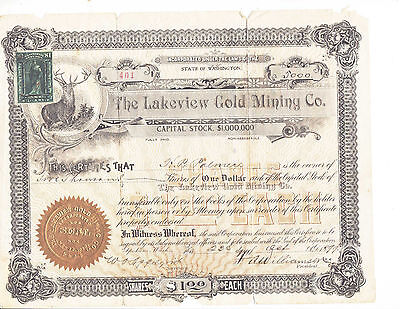 Old Gold Mining Stock Certificate, LAKEVIEW MINING COMPANY- 5000 Shares