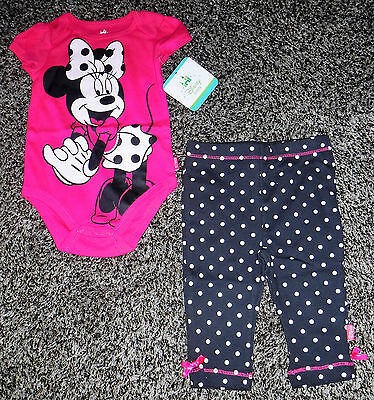 NWT Baby Girls Short Sleeve Minnie Mouse Two Piece Outfit Size 3/6 Months