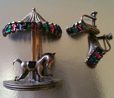 Vintage JOHN CAIANIELLO 1946 STERLING MOVABLE CAROUSEL HORSE BROOCH RARE EARRING
