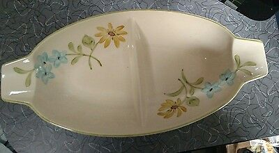 """1960s Franciscan Earthenware Daisy Divided 14"""" Serving Dish"""