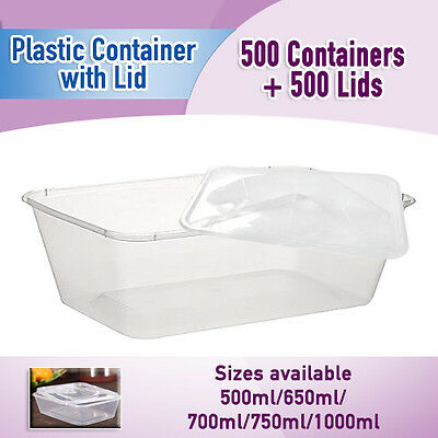Take Away Containers 500 & Lids 500 Pc Disposable Plastic Food Containers