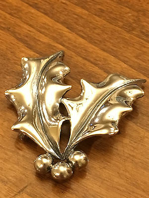 "James Avery 1 5/8"" Sterling Silver Holly Leaves Brooch Pin Rare Retired Aprx 11g"