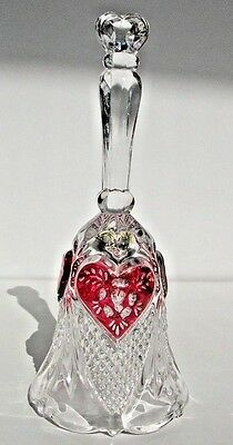 cut glass clear lead crystal bell red hearts K Rattenberg Bleikristall