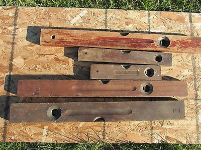 Lot of 5 Antique vintage wood brass carpentry levels Stanley Exact Keen Kutter