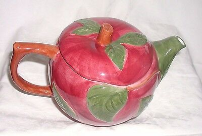 Vintage Red Apple Fanscican Ware Tea Pot Portugal