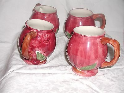 4 Vintage Red Apple Franciscan Ware Tea Mugs Portugal