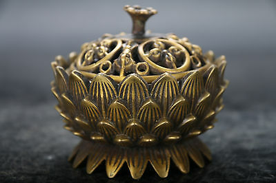 Exquisite Chinese brass Hand-Carved lotus  Incense Burner
