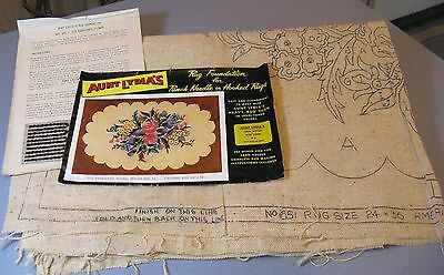 50's American Thread Aunt Lydia's No. 651 Floral Rug Foundation + Directions