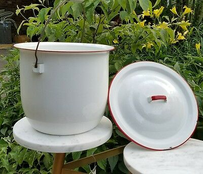 Vintage Enamelware Chamber Pot Slop Jar White Red Trim Bail Wire Handle