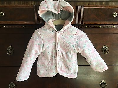 Burt's Bees 6-9 Months Baby Girl Reversible Coat Pink Gray Floral Striped