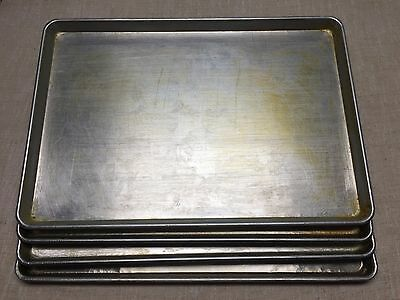 """LOT OF 4-17 3/4"""" x 25 3/4"""" FULL SHEET BAKING PANS-GOOD USED CONDITION-PIZZA SHOP"""