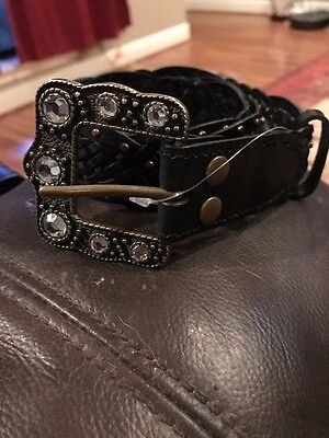 Miss Me girls black leather belt size 26 - small
