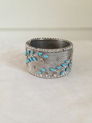 Vtg Chunky Silver Tone Detailed Hinged Cuff Bracelet w Turquiose Colored Beads