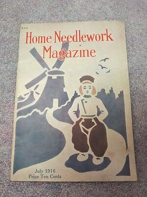 July 1916 Home Needlework Magazine Crochet Embroidery Dutch Boy Stencil