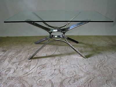Roger Sprunger for Dunbar Chrome & Glass Coffee Table; Near Mint to Mint 44""