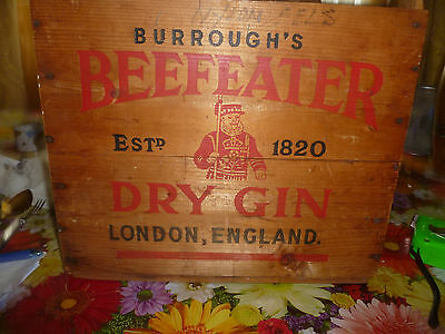 Vintage BEEFEATER DRY GIN Wood Crate Wooden Liquor Box