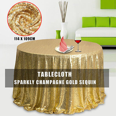 Sparkly Champagne Gold Sequin Table Cloth Cover For Wedding/Event/Party/Banquet