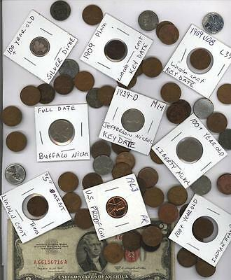 *vintage U.s. Collection***50+ Coins W/silver & 100 Yr Old Coins Gift