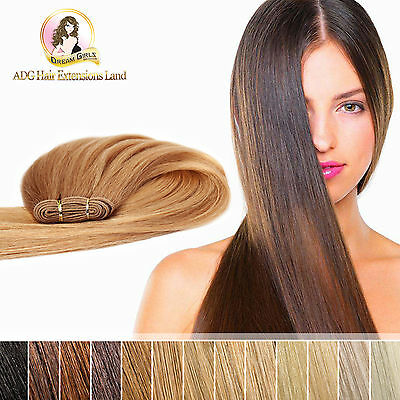 "100% Real Indian Remy Weft Hair Extensions 18"" 20"" 22"" 24"" Double Drawn 50g 100g"