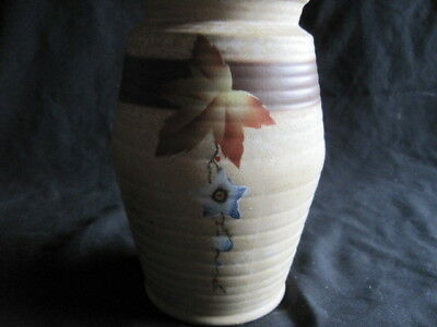 Vintage ... Pottery Vase... Hand Painted Flowers... Can Ship...