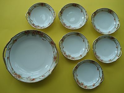Vintage T & N JAPAN Hand Painted Large Bowl & 6 Small Bowls