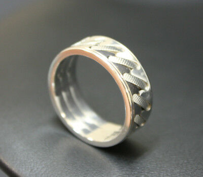 Unisex 9K Solid White Gold Infinity Band Ring 7.3 Grams