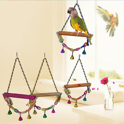 Swing Bird Toy Parrot Rope Harness Cage Toys Chew Bites for Parakeet Cockatiel