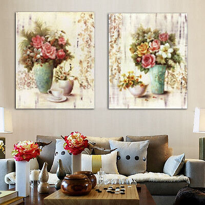 2Pcs Flower Abstract Canvas Print  Wall Art Painting Picture Home Unframed Decor