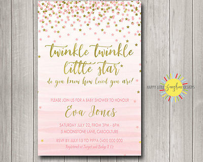 picture relating to Free Printable Twinkle Twinkle Little Star Baby Shower Invitations named Tailor made Kid SHOWER Invitation Twinkle Twinkle Small Star Red Gold Watercolour