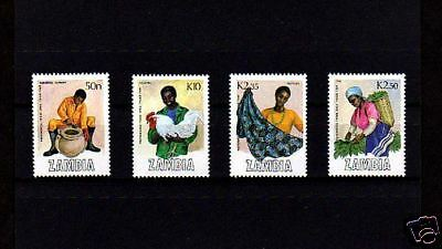 Zambia - 1988 - Trade Fair - Industry - Poultry - Textiles ++ Mint - Set Of 4!