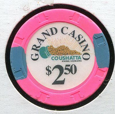 Grand Casino Coushatta $2.50 Kenner LA  CG231 Additional Chips Ship for 25c !