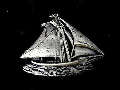 1950'S VINTAGE STERLING SILVER SAILING YACHT,SHIP,BOAT BROOCH/SIGNED BY di VERA