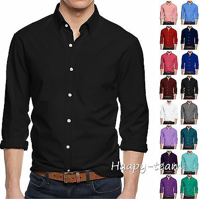 Men's Long Sleeve Button Shirt Cotton Slim Collar Business Formal Dress Shirts