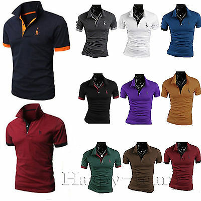 Men's Solid Polo Short Sleeve T Shirt Golf Casual Cotton Tops Sports Jersey Tees