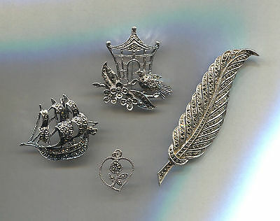 Four Piece Marcasite Jewelry Lot Vintage Look Retro Brooches / Pendant