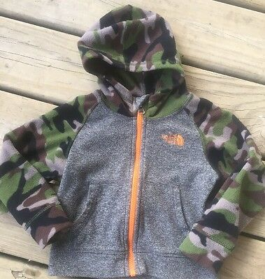 The North Face Toddler Boy's Fleece Jacket Hoodie Gray Camo Size 2T