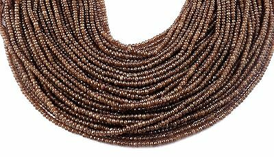 """5 Strand Brown Chalcedony Micro Faceted Rondelle 3mm Loose Gemstone 14"""" Long"""