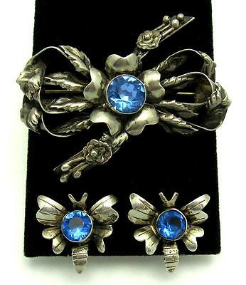 Vintage Hobe 1940s Sterling Silver Set Floral Brooch and Butterfly Earrings