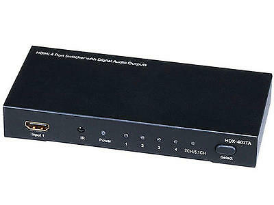 4x1 HDMI® Switch with Analog, Digital Coaxial, and Digital Optical Audio Outputs