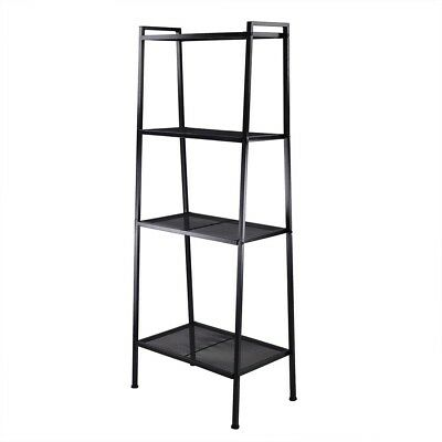 4 Tier Metal Bookshelf Ladder Bookcase Storage Rack Stand Home Office INCD VAT