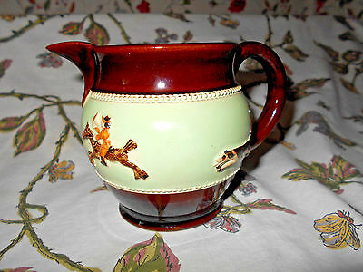 """Bourne Denby Derby Fox Hunting Pottery Stoneware Pitcher 5""""~Mint Condition~Cute~"""