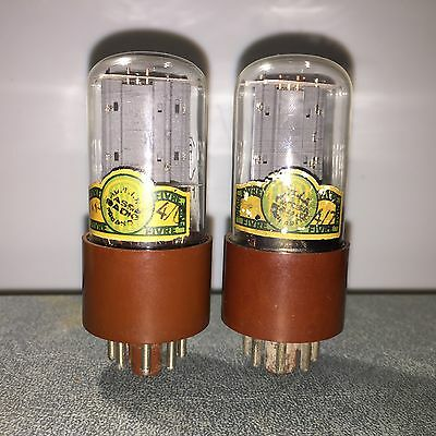 2x 6SN7GT Fivre brown base, green label, D-getter, tested tubes, matched pair