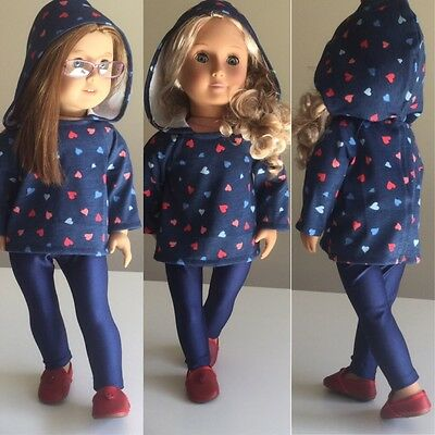 """Fit American Girl Our Generation 18"""" Doll Clothes ONLY. Hoodie Leggings & Shoes"""