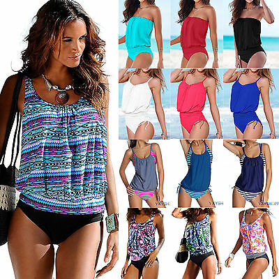 Women Push up Padded Tankini Bikini Set Swimwear Swimsuit Beachwear Bathing Suit