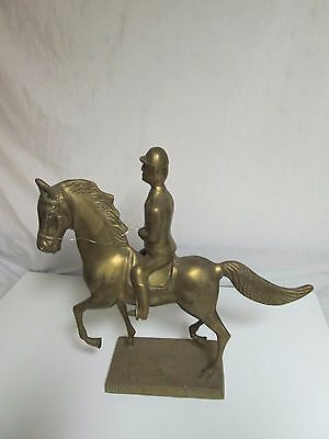 "Vintage Large Brass Equestrian Rider and Horse Figurine 20 1/4"" Tall 13 Pounds"