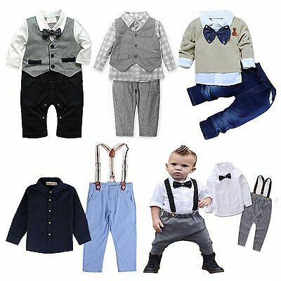 Newborn Baby Boys Kids Gentleman Outfits Suit Coat Tie Shirt Pants Set Clothes